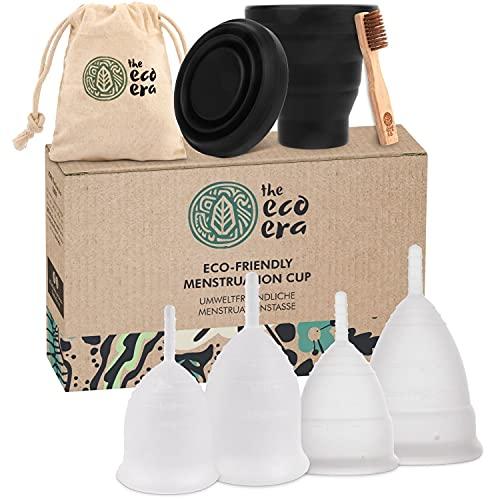 """The Eco Era Menstruationstassen-Set \""""Größe S+L\"""", mit je 2 Menstruationstassen (soft & normal) in Größe L+S, eine Sterilisationstasse, eine Baumwolltasche und eine Bambusbürste - 6 Tlg. Set"""
