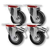 Nirox Set da 4 Ruote per carichi pesanti 75mm - Ruote pivontanti per mobili con freno - Ruote girevoli ruotabili a 360° - altezza totale di 95mm - Rotelle piroettanti fino a 200kg