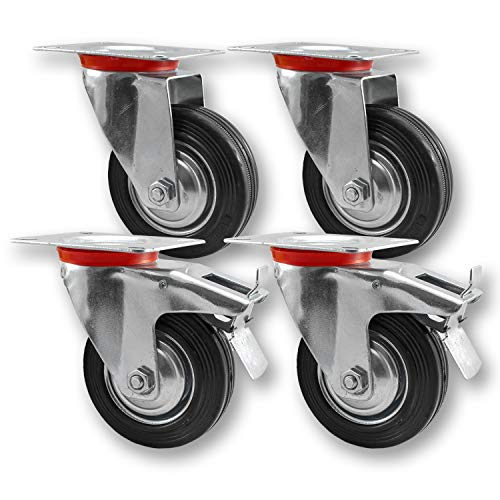 Nirox 4x Transportrollen im Set, 75mm - Schwerlastrollen mit Bremse - Lenkrollen 360 Grad rundum drehbar - Industrierollen Vollgummi - 95mm Gesamthöhe - Räder bis 200kg