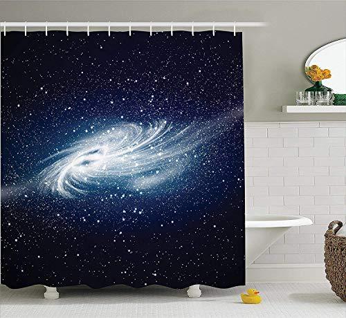 Fantasy Universe Decor Shower Curtain with Bath Rugs Black Hole in Galaxy