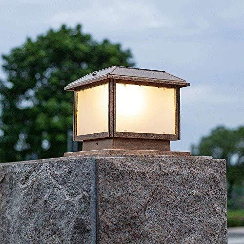Accesorio de Luces de Tapa de Poste Grande con energía Solar Luces de Pilar Solar LED para Exteriores Plaza de Bronce frotado con Aceite Decoración de pórtico Lámpara de Columna Impermeable