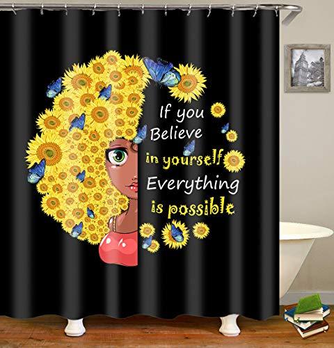 COLORPAPA African American Girl Sonnenblume Duschvorhang Afro Girl Floral Schmetterlinge Motivation Zitate Schwarz Badezimmer Dekor Badvorhänge Set mit Haken Wasserdicht Durable Stoff 183 x 198 cm