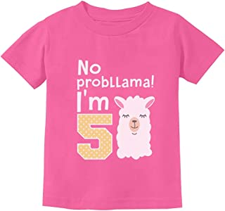 5 Year Old Girl Birthday Gift No Probllama Youth Kids T-Shirt