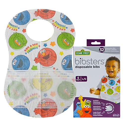 Bibsters Sesame Street Large Disposable Bibs with Patented Crumb-Catcher, Leakproof Liner, and...