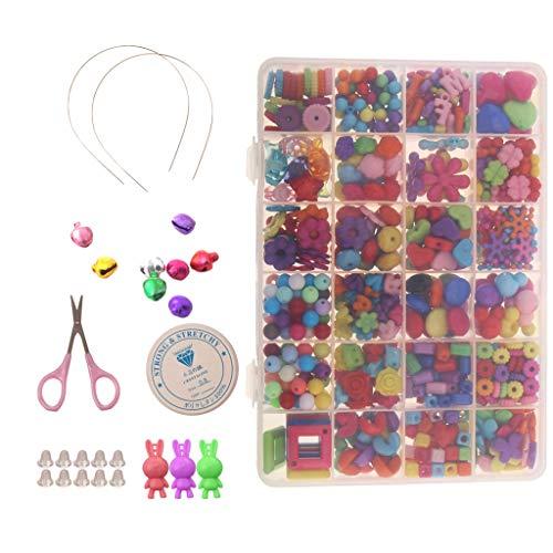 Harilla 590 Piezas de Cuentas Sueltas de Acrílico Mulitcolor Suministros de Fabricación de Joyas para Niños Manualidades