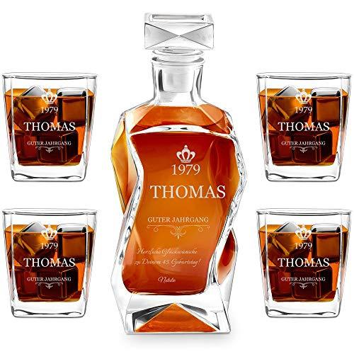 Murrano Whiskey Karaffe + 4er Whiskygläser Set mit Gravur - 700ml Whisky Dekanter - Geschenk zum Geburtstag für Männer - Guter Jahrgang