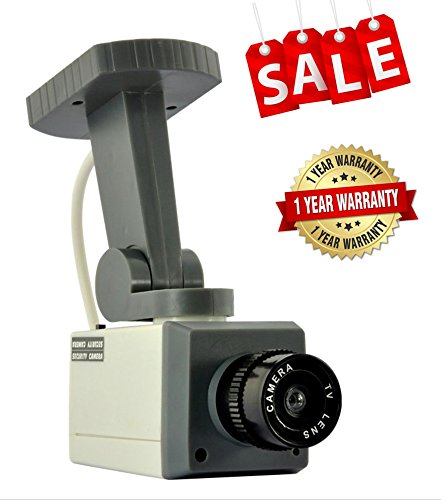 iMacwear Fake Dummy Security Camera,Realistic Indoor and outdoor Looking Surveillance Detector Motorized with Swivel Action