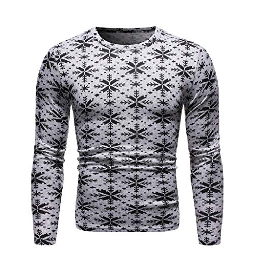 Best Buy! Mens Ugly Christmas T-Shirt, Snowflake Geometric Print Regular Fit Long Sleeve Blouse (S, ...