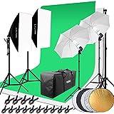 HAKUTATZ Juego de Estudio fotográfico Profesional Studio lámpara Studio Sets Sistema de Fondo lámpara Trípode Softbox fotografía con Funda