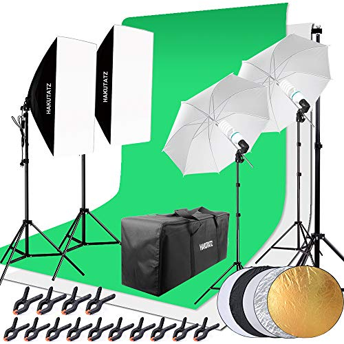 HAKUTATZ® Profi Fotostudio Set Studioleuchte Studiosets Hintergrundsystem Lampenstativ Softbox Fotografie mit Schutztasche Greenscreen Set