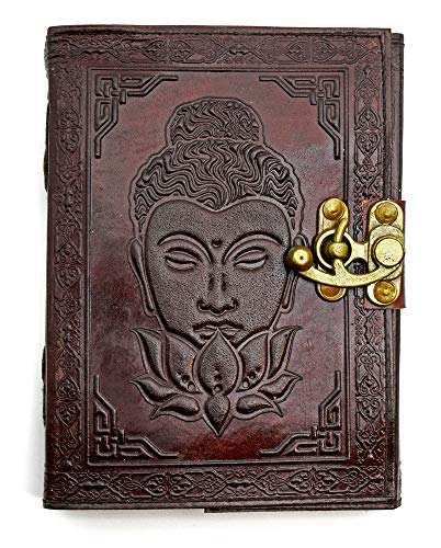 Buddha with Lotus Flower Leather Journal