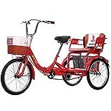 Cargo Trike Bicicleta de tres ruedas Triciclos para adultos de 20 pulgadas con cesta de la compra Bicicleta de triciclo Bicicleta para compras Picnic Deportes al aire libre Hombres Mujeres (Color: ro