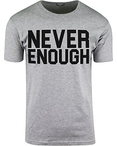 ShirtBANC Never Enough Mens Shirt Hustler Shirts Hip Hop Tee Rap Shirt (Athletic Heather, L)