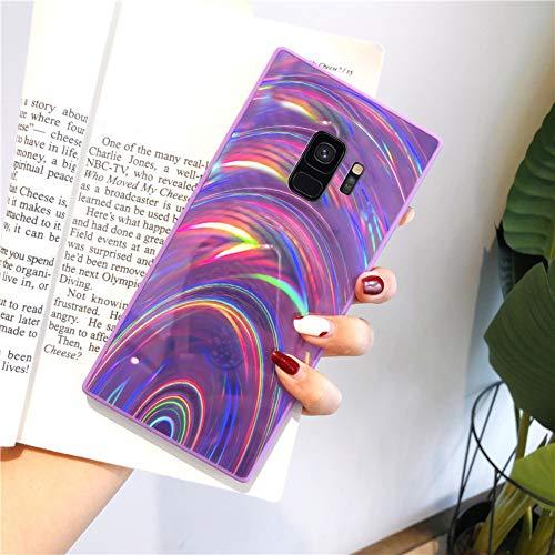 Herbests Kompatibel mit Samsung Galaxy S9 Hülle Glitzer Glänzend Kristall Aurora Bunte Weich Silikon Handyhülle Ultra dünn Schutzhülle TPU Bumper Handytasche Crystal Case Cover,Lila