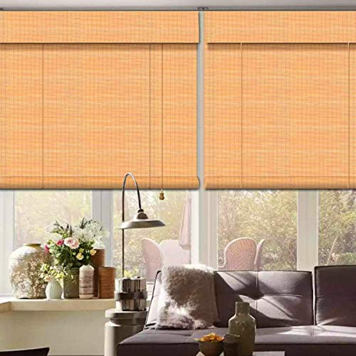 uyoyous Bamboo Window Blinds Natural Light Filtering Roll Up Shades with Valance Bamboo Roller Shades Indoor Outdoor for Porch Kitchen Patio