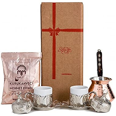 CopperBull  Thickest Copper Turkish Greek Coffee Pot with Heavy Duty Cups Saucers & Coffee Set for 2 (Silver)