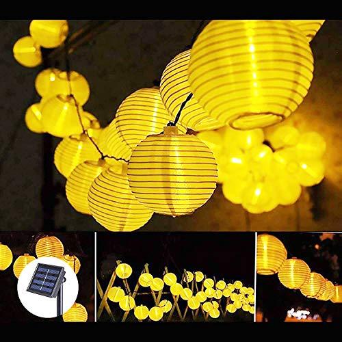 Solar Lichterkette Außen Lampions, 6.5M 30er LED Lichterkette LED Solar Lichterkette IP65 Wasserdicht, Warmweiß Laterne mit Batterie für Garten Terrasse Haus Party Deko [Energieklasse A++]