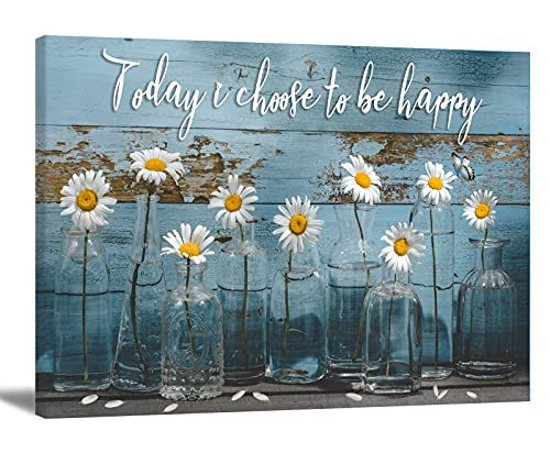 Vintage Daisy Canvas Wall Art Bathroom Wall Art Daisy In Vase Flower Picture Rustic Blue Wooden Board Background Contemporary Wall Art Decor Bedroom Living Room Office Home Decor