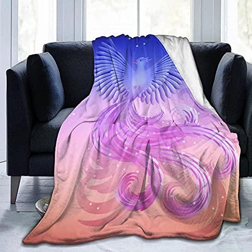 Personalisierte Gedruckt Kuschel Decken Extra Warme Fleece Flanelldecke Hochwertige Mikrofaser Super Weiche Hug als Tagesdecke SofaüBerwurf Wohnzimmer Couchdecke Vogel Der Phönix Feuervogel-XXL
