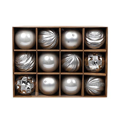 Domeilleur Palline di Natale 12 Pezzi 8CM Palle di Natale Argento Palle per Albero di Natale Bauble Applique Ornamenti Addobbi Decorazioni Albero Palle Decorative Festa per Matrimoni Forniture