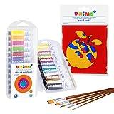 PRIMO Tempera - Juego de pinturas escolares para niños (12 colores, en estuche, pincel y plantillas)
