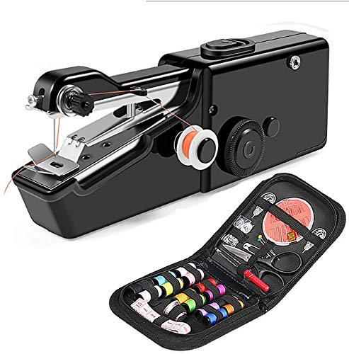 LTXDJ Mini Macchina da Cucire Portatile, Handheld Cordless Strumento di Cucitura Rapida per Tessuti, Vestiti o Tessuti per Bambini- 28 Pezzi con Custodia