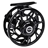 PROBEROS Fly Fishing Reel, CNC Machined Aluminum Large Arbor Alloy Body Fly Reels, 9/10 Weight,Black