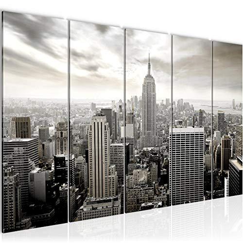Runa Art Cuadro XXL Nueva York 200 x 80 cm Negro y Blanco 5 Piezas - Made in Germany - 603455c