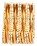 Touchstone New Golden Bangle Collection Indian Bollywood Traditional Yellow Rhinestone Plain Golden Designer Jewelry Bangle Bracelets Set of 20. In Antique Gold Tone For Women.