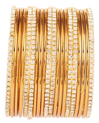 Touchstone New Golden Bangle Collection Indian Bollywood Traditional Yellow...