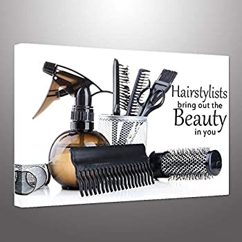 Hello Artwork Hair Canvas Wall Art Large Barber Pole Scissors Tools Hairstyle Haircut Emblem Symbol Picture Print On Canvas Stretched and Framed for Barber Shop Salon Room Decoration Ready to Hang