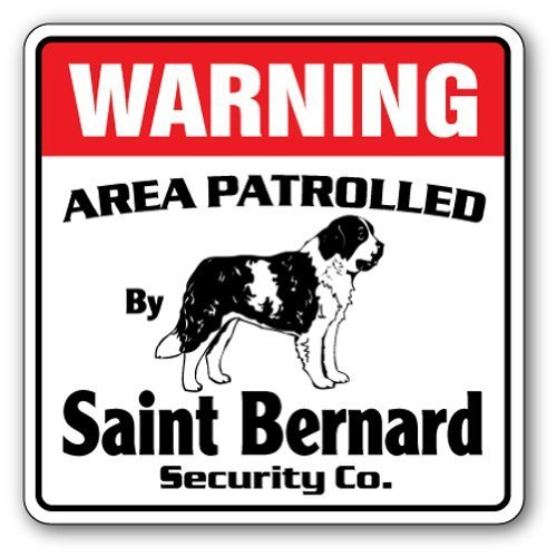 """Funny Deko Schilder Saint Bernard Sicherheit Schild Bereich \'Pet Inhaber \""""Nadia Hundeliebhaber Wasserspeier Puppy Metall Aluminium Schild für Garagen, Wohnzimmer"""