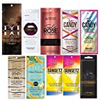 10 New Tanning Lotion Sample Packets - Major Brands Bronzer & Intensifier - 10 Assorted Packets