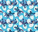 Disney Lilo & Stitch Many Faces of Stitch Toss on Blue Cotton Fabric by The Yard