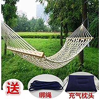 [Send] inflatable pillow Outdoor mesh hammock sling dormitory adult indoor swing hanging chair cradle string bag (Color : Red, Size : 130)