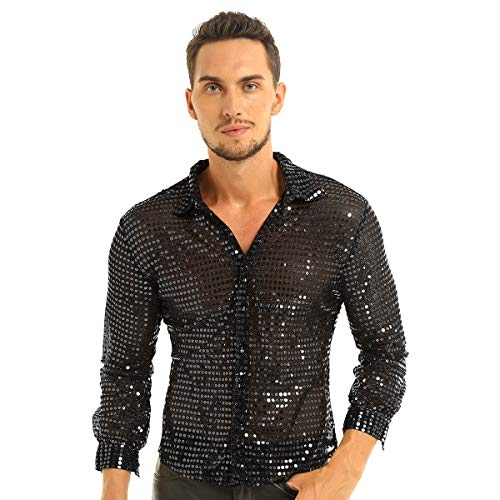 IEFIEL Camisa de Baile Latino Lentejuelas Hombre Camisa de Danza Moderna Brillante Sexy Traje de Baile Disfraz Estilo 80s Vintage M-XL Negro Medium