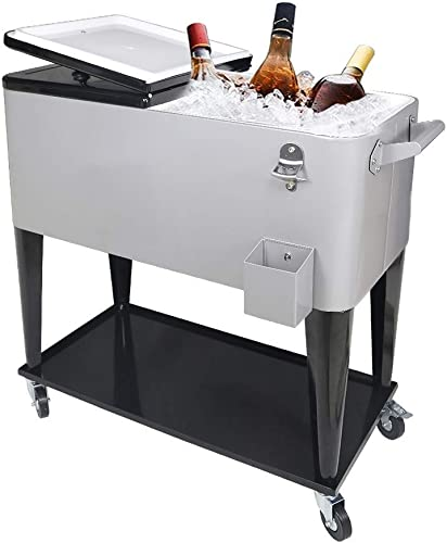 high quality Portable Rolling Storage Cooler Cart Trolley Iron Beer Cooler Cart with Large Storage discount Space Rolling Cooler on discount Wheels Warehouse outlet online sale