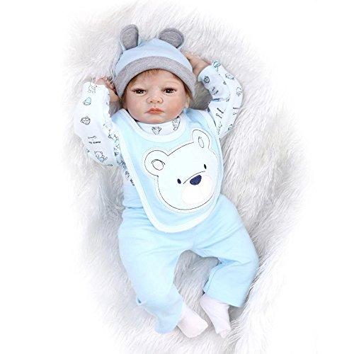 Nicery 22inch Renacido de la Reborn muñeca de Silicona Suave Vinilo 55cm magnética Boca Realista Niño Niña de Juguete Azul Blanco Bear Reborn Baby Reborn Doll