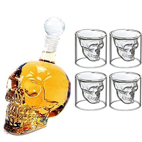 Chanhan - Set di decanter e bicchieri da vino in vetro trasparente, design unico, bicchiere da whisky, bicchieri da vino, 1 decanter da 1000 ml e 4 bicchieri da 250 ml