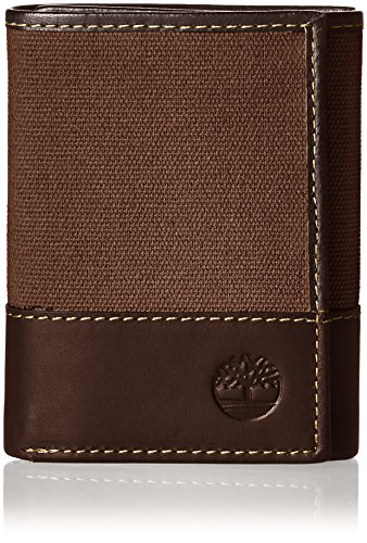 Timberland Men's Canvas & Leather Trifold Wallet, Dark Earth, One Size