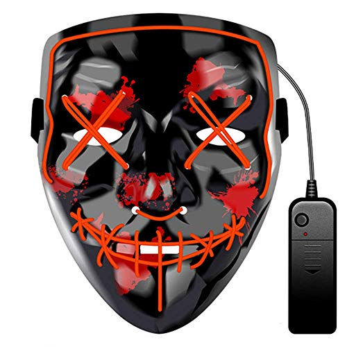 JCT Halloween LED Máscaras Purga Grimace Mask Horror Mask Scary LED Ilumina Máscaras para Halloween, Fiestas de Disfraces, Mascaradas, Carnavales, Regalos For Adultos Infantiles (Rojo)