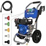 BILT HARD Pressure Washer Gas, 3300 PSI 2.6 GPM Power Washer, 212cc 6.5HP Engine, 5 Nozzles, 25ft Hose, EPA & CARB Compliant