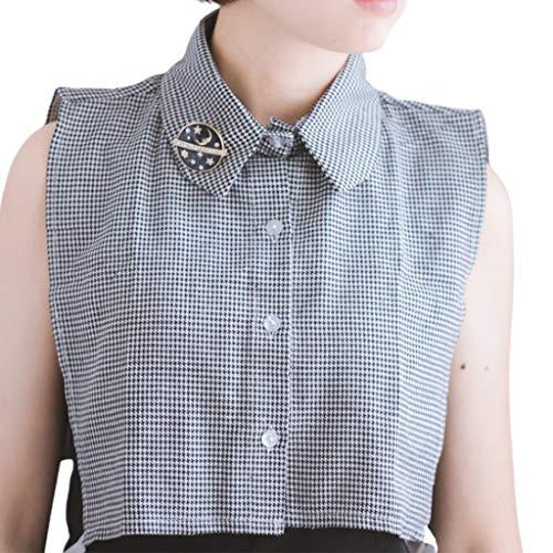 hainan Women Girls Houndstooth Plaid Print Lapel Half-Shirt Blouse Button Down Detachable False Fake Collar with Moon Star Round Brooch