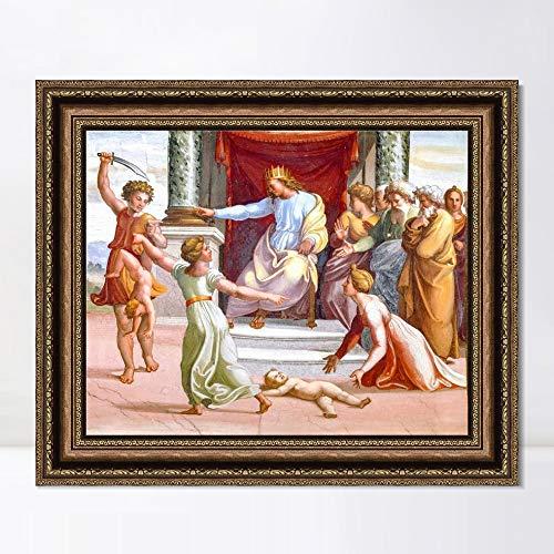 "INVIN ART Framed Canvas Art Giclee Print Series#121 by Raphael/Raffaello Sanzio Wall Art Living Room Home Office Decorations(Vintage Embossed Gold Frame,20""x24"")"