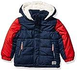 OshKosh B'Gosh Boys' Little Heavyweight Winter Jacket with Sherpa Lining, Deep Navy/Red, 5/6