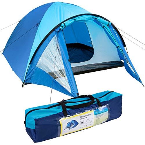 ONVAYA® 3 Personen Zelt (doppelwandig)   stabiles Kuppelzelt, Wassersäule 1500 mm   blaues Campingzelt mit Vorzelt und Moskitonetz