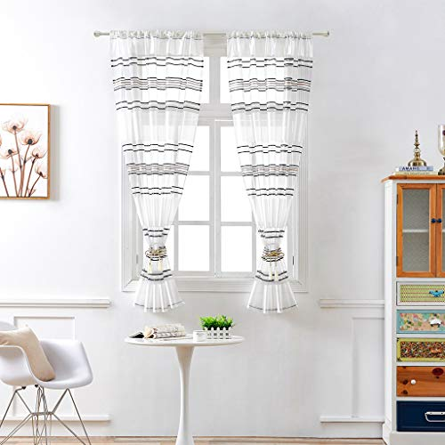 FeiliandaJJ 130x100cm 1PCS Vorhang Transparent Wohnzimmer Schlafzimmer Kinderzimmer, Vorhänge mit ösen Atmungsaktiv Waschbar Gardinen Gardinenschals Fenstervorhang (Schwarz)
