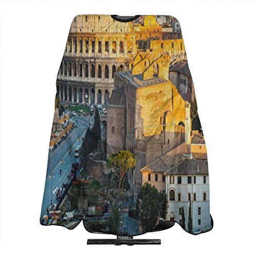 Italy Colosseum In Rome Amphitheater Ancient Historical Hair Cut Cape Waterproof Stain Resistant Professional Hair Apron Anti-Static Durable Salon Cape Hair Barber Hairdressing Cape For Adult