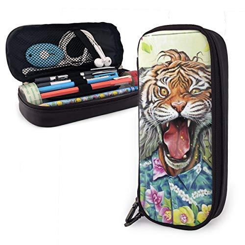 Estuche para lápices con cremallera para guardar cosméticos, maquillaje, artículos de papelería para niños, estudiantes, niños, niñas, hombres, mujeres, accesorios de oficina, accesorio escolar, diseño de tigre, flores tropicales, cómics de dibujos animados
