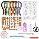 TUPARKA 15 PCS Paper Quilling Kits with 29 Colors 600 Strips, Paper Quilling Tools and Supplies DIY Design Drawing Handcraft Tool